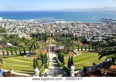 Israel, Haifa, March, 20, 2016 - A Amazing View Of The Bahai Beautiful Gardens Against The Backgroun