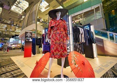 SINGAPORE - APRIL 21, 2019: Lisa Von Tang clothes on display at Singapore Changi Airport. Lisa Von Tang is a fashion designer based in Singapore.