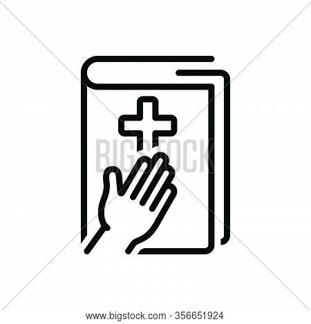 Black Line Icon For Testimony Evidence Prove Holy-book Witness Documentation Reference