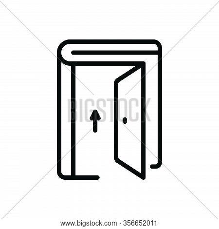 Black Line Icon For Admission Door Gate Exit Egress Gateway Entrance Entry Penetration Ingress