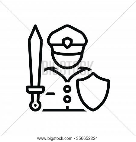 Black Line Icon For Fighter Warrior Trooper Knight Soldier Combatant Athlete