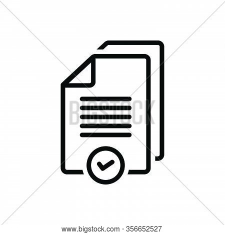 Black Line Icon For Proper Reasonable Advisable Right Suitable Pertinent Wrong Document Paper