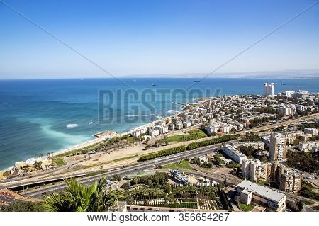 Israel, Haifa, March, 20, 2016 - Top View From Mount Carmel On The Infrastructure Of The Haifa City