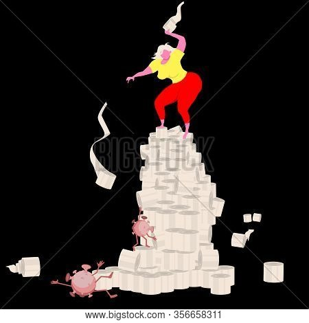 Victory Is Ours! A Girl Standing On A Tower Of Toilet Paper Rolls Is Fighting A Coronavirus Climbing
