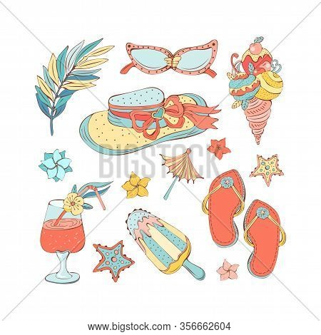 Hand Drawn Set Of Summer Icons In Vintage Style. Isolated Vector Objects On A White Background. Stra