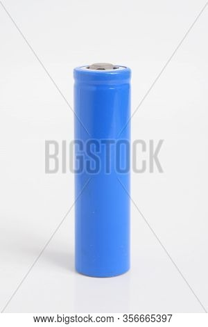 Blue 18650 Rechargeable Li-ion Battery On White Background