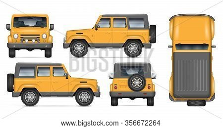 Offroad Car Vector Mockup For Vehicle Branding, Advertising, Corporate Identity. View From Side, Fro