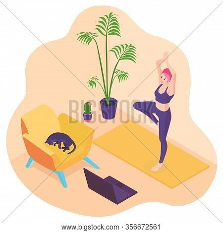 3d Isometric Flat Design - Healthy Life Style, Yoga At Home