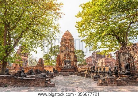 Wat Mahathat In Buddhist Temple Is A Temple Built In Ancient Times At Ayutthaya Near Bangkok. Thaila