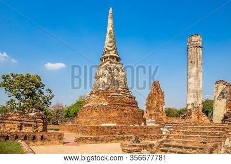 Ancient Pagoda At Wat Mahathat In Buddhist Temple Is A Temple Built In Ancient Times At Ayutthaya Ne