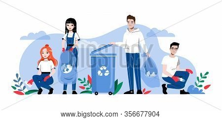 Concept Of Zero Waste And Recycling, Save Planet. Characters Clean Street Of Trash And Put It Into C