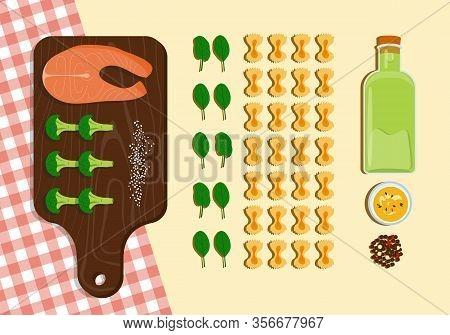 Food Knolling Fish, Pasta, Broccoli, Sesame, Olive Oil Trendy Arranging Vector Illustration. Delicio