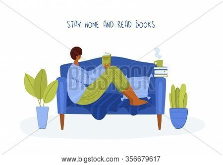 Girl Reading Book In Cozy Home Room On Sofa, Student Read And Study, Literature Fans Or Lovers Conce