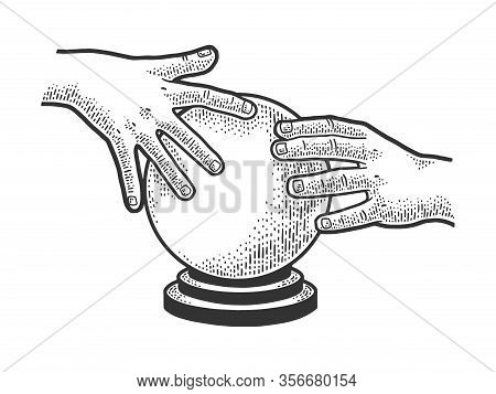 Predictor Magic Crystal Ball Sketch Engraving Vector Illustration. T-shirt Apparel Print Design. Scr