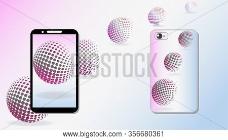 Mobile Phone Screen And Protective Case With Bright Pattern. Abstract Pattern Of Flying Spheres, Gra