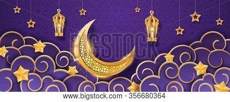 Crescent And Stars Background For Eid Al Or Ul Adha, Eid Al-fitr. Iftar Or Fatoor Greeting Card, Eid