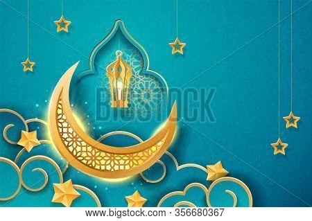 Ornament Background For Ramadan Kareem Or Eid Al Adha Festival. Eid-al-fitr Or Hari Raya, Iftar Gree
