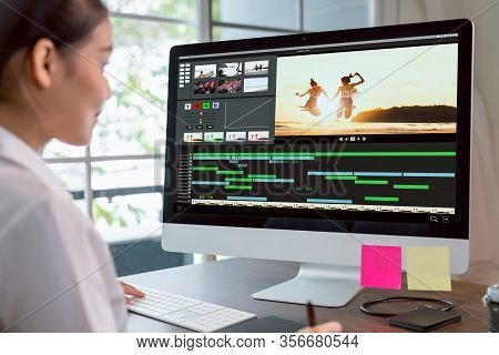 Concept Of Simple Operation Of Blogger And Vlogger, Hand Using Computer On Video Editor Works With F