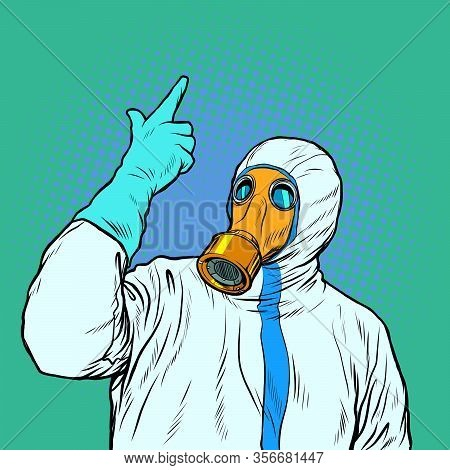 Doctor In Protective Suit And Mask. The Epidemic Of Coronavirus. Pop Art Retro Vector Illustration V
