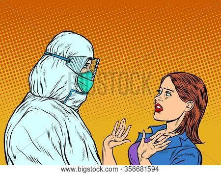 Doctor In Protective Suit And Emotional Patient Woman. Pop Art Retro Vector Illustration Vintage Kit