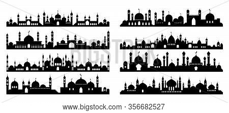 Arabic Architecture Silhouette. Mosque Roof, Islamic Cityscape Panorama And Minaret Skyline Silhouet
