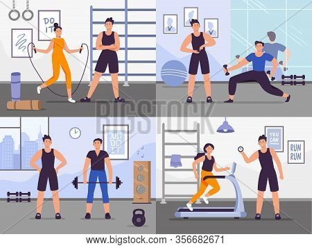 Gym Coach. Vector Illustration Set People Training. Gym Coach, Fitness Training Workout And Exercise