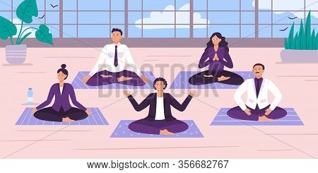 Yoga Office Workers. Vector Illustration. Yoga Worker Position And Meditation, Office Relax Break, G