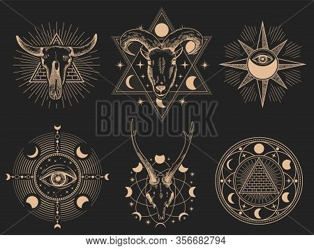 Occult Symbols. Vector Illustration Set. Occult Magic Tattoo, Sacred Spirituality Esoteric Collectio