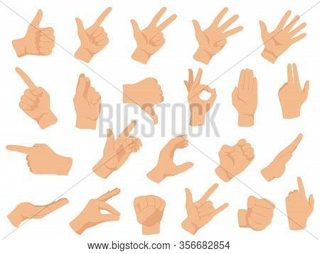 Hand Gestures. Vector Illustration Set, Counting Fingers. Gesture Palm, Pointing Hand, Communication