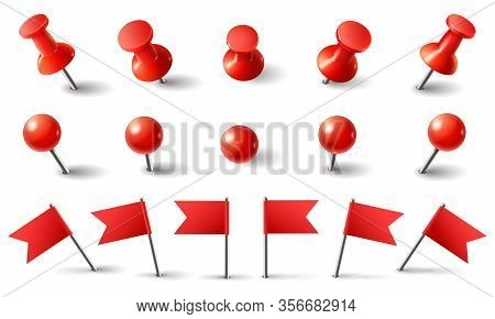 Red Pushpin, Flag And Thumbtack. Isolated Vector Set. Red Thumbtack, Pushpin And Needle Marking, Pus