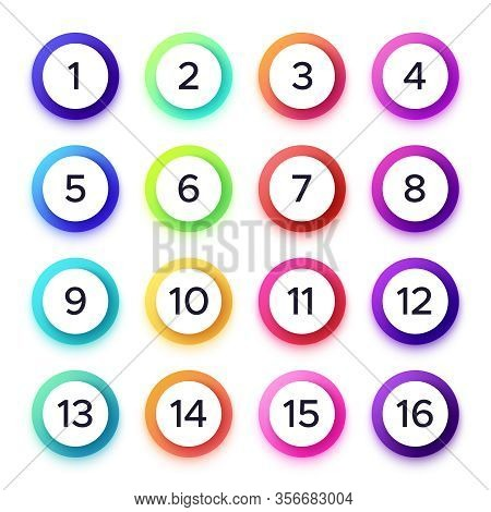 Numbers In Colorful Gradient Frames. Vector Set Of Rings Gradient, Number In Circle Round Illlustrat
