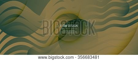 Green Landing Page Design. 3d Fluid Shapes Brochure. Vivid Creative Background. Army Gradient Magazi