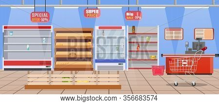 Supermarket Store Interior With Empty Store Shelves. Big Shopping Mall. Interior Store Inside. Check