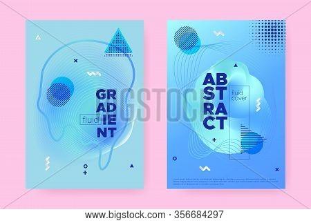 Blue Hipster Memphis Brochure. Graphic Flow Poster. Liquid Banner. Summer Business Template. Abstrac