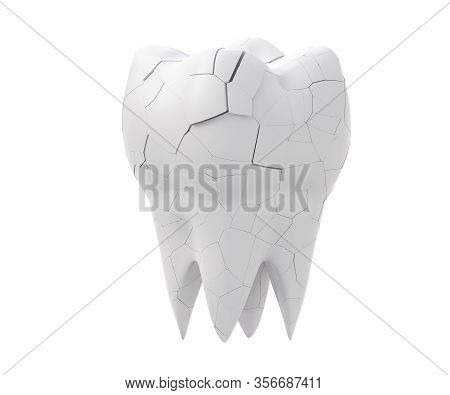 Broken Molars Tooth And Whole Tooth Isolated On White Background. 3d Illustration