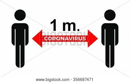 Coronavirus Covid-19 Virus Social Distance Concept. 1 Meter Safety Instruction