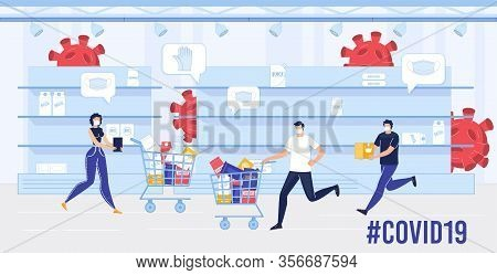 People In Facial Mask In Panic With Shopping Trolley Cart Running Between Empty Store Shelves. Prote