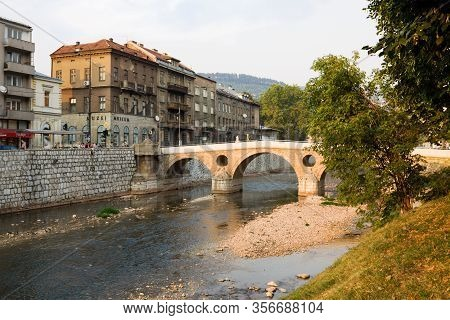 Sarajevo, Bosnia And Herzegovina - August 25, 2012: Sarajevo Cityscape With The Latin Bridge. Saraje