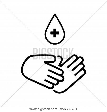 Safe Hand Wash Icon. Hand With Drop Cross Isolated Icon. Hygiene Black Icon. Eps 10