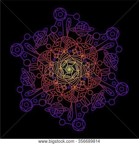 Mandala Space On A Dark Background. Vector Rnament Invitation Card With Mandala. Vintage Decorative