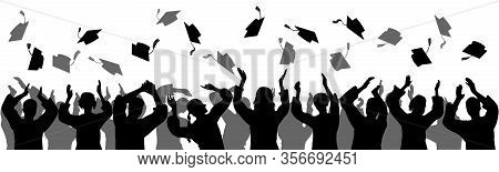 Graduation. Happy Students Graduates Toss Up Caps. Silhouettes, Vector Illustration.