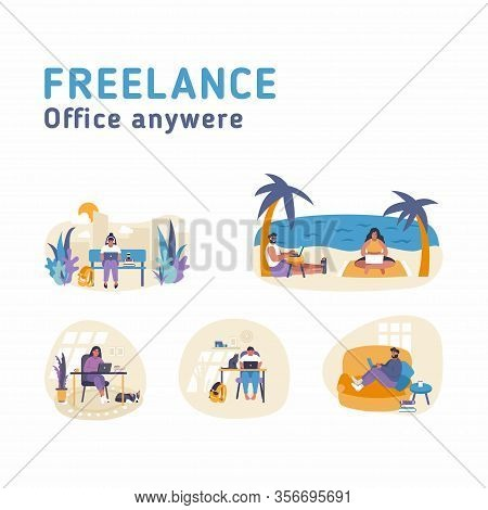 Remote Job Flat Vector Illustration Concept. People Are Working Online With Laptops From Any Place.