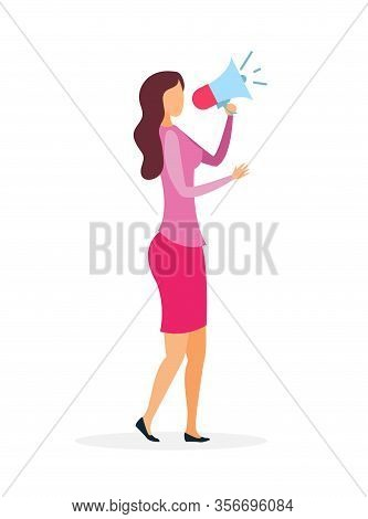 Woman With Loudspeaker Flat Vector Illustration. Young Businesswoman Holding Megaphone Cartoon Chara
