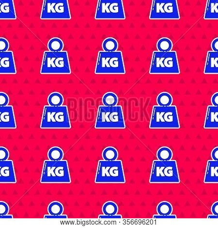 Blue Weight Icon Isolated Seamless Pattern On Red Background. Kilogram Weight Block For Weight Lifti