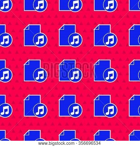 Blue Music Book With Note Icon Isolated Seamless Pattern On Red Background. Music Sheet With Note St