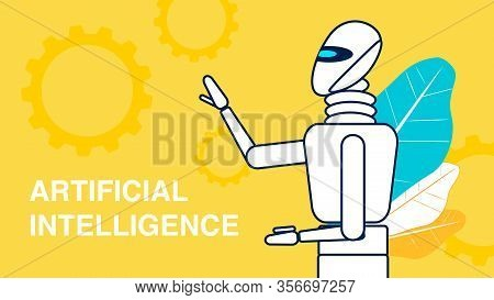 Artificial Intelligence Advert Banner Template. Cartoon Robot Waving Hand Thin Line Illustration. Cy