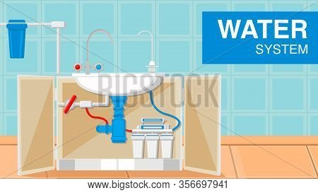 Water Plumbing Supply System Web Banner Template. Pipes, Siphon Under Kitchen Sink. Blue Bathroom Ti