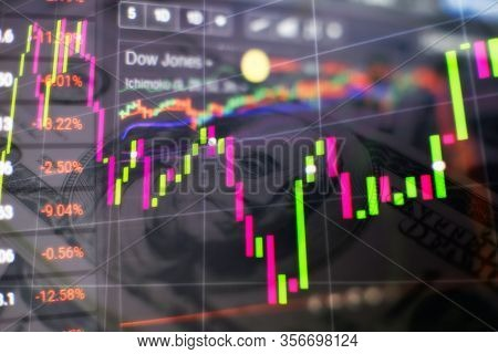 Stock Index On The Computer Monitor . Financial Data On A Monitor Which Including Of Market Analyze.