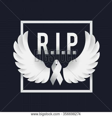 White Ribbon And White Peace Wings In Frame And R.i.p. Text On Dark Background Vector Design