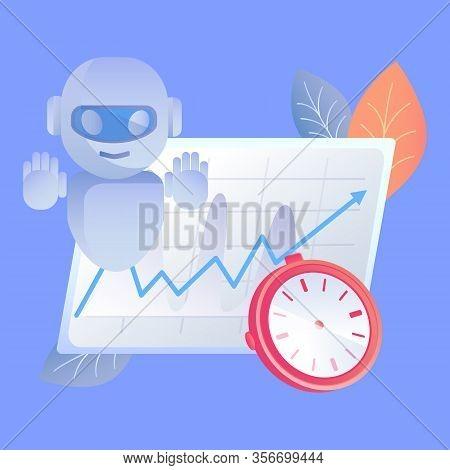 Digital Time Manager Flat Vector Illustration. Time Management Assistance, Workflow Optimization Hel